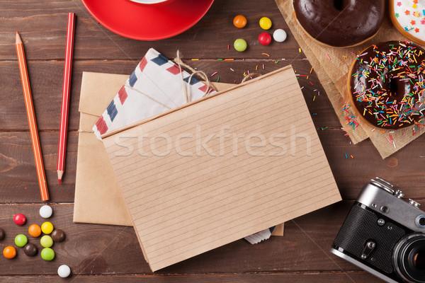 блокнот кофе деревянный стол Top мнение Сток-фото © karandaev