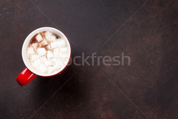 Warme chocolademelk heemst steen tabel top Stockfoto © karandaev