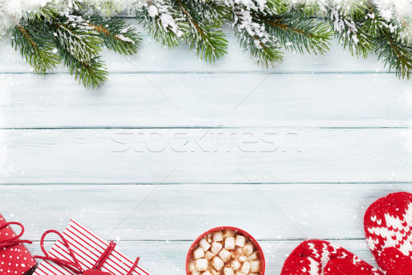 Noel hediye kutuları sıcak çikolata hatmi üst Stok fotoğraf © karandaev