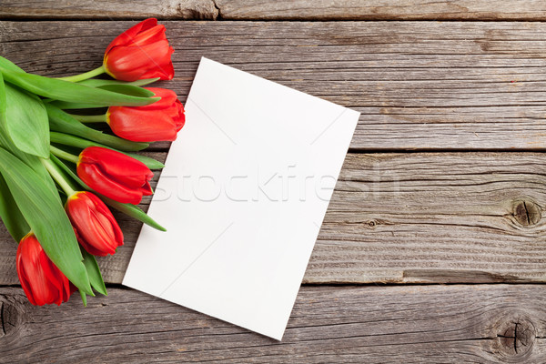 Red tulips and Valentine's day greeting card Stock photo © karandaev