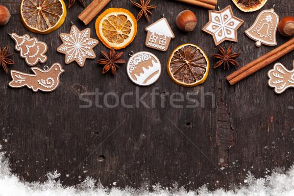 Christmas background with gingerbread cookies Stock photo © karandaev