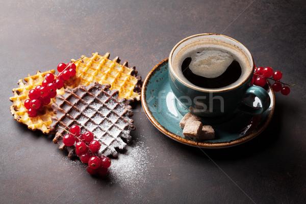 Coffee and waffles with berries Stock photo © karandaev