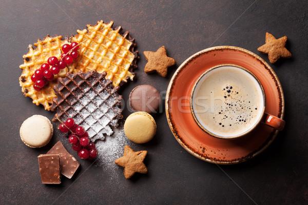 Café dulces superior vista alimentos chocolate Foto stock © karandaev