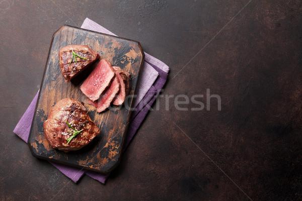 ızgara fileto biftek üst görmek Stok fotoğraf © karandaev