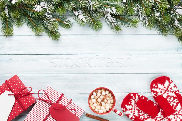 Noel hediyeler sıcak çikolata hediye kutuları hatmi Stok fotoğraf © karandaev