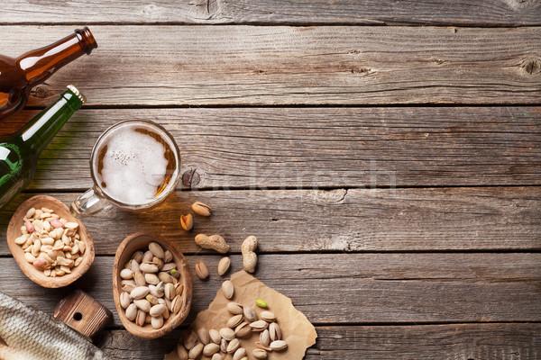 Bière collations table en bois noix Photo stock © karandaev