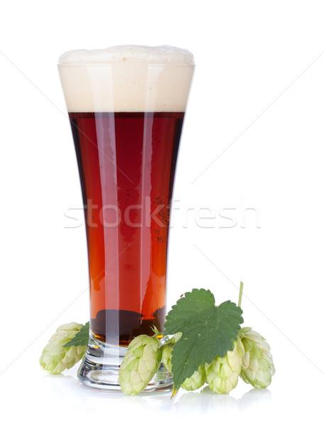 Donkere bier beker hop tak geïsoleerd Stockfoto © karandaev