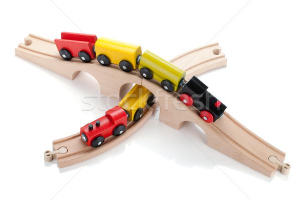 木製玩具 列車 孤立した 白 赤ちゃん 教育 ストックフォト © karandaev