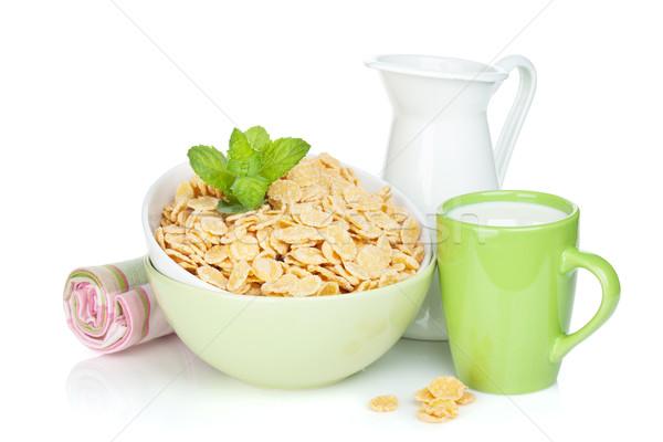 Stock photo: Fresh corn flakes with milk