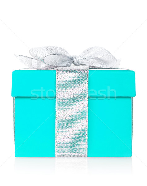 Stock photo: Blue gift box with silver ribbon and bow