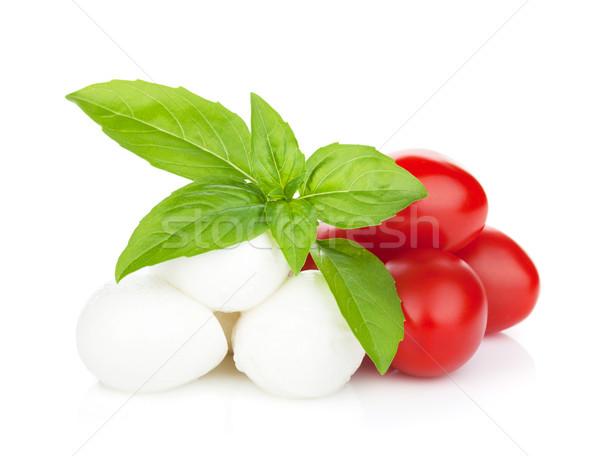 Mozzarella peynir kiraz domates fesleğen yalıtılmış beyaz Stok fotoğraf © karandaev