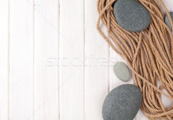 Houten mariene touw zee stenen exemplaar ruimte Stockfoto © karandaev