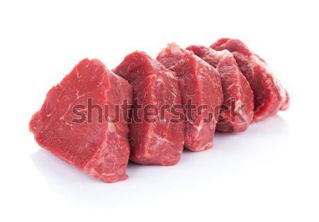 Filé steak marhahús hús izolált fehér Stock fotó © karandaev