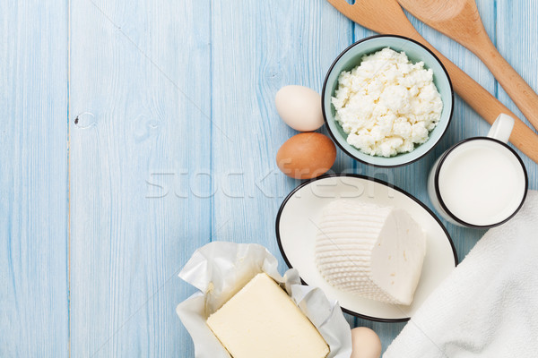 Dairy products. Milk, cheese, egg, curd cheese and butter Stock photo © karandaev