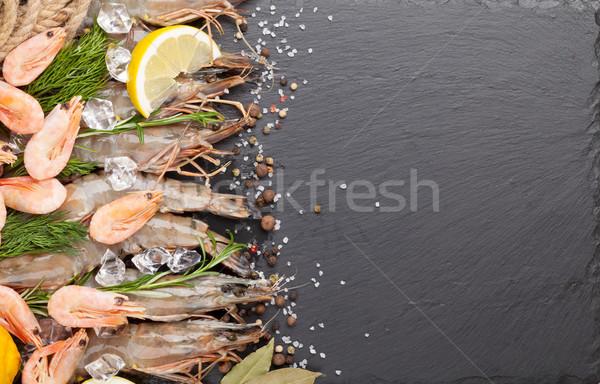 Fresh prawns with spices Stock photo © karandaev