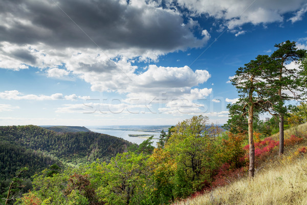 Countryside landscape with mountains and river Stock photo © karandaev