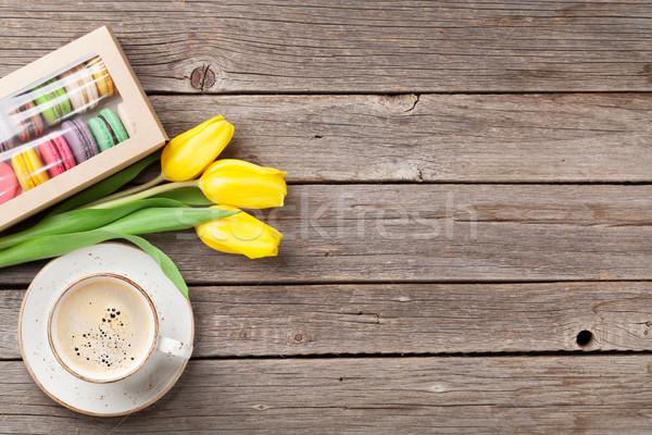 Stockfoto: Kleurrijk · koffiekopje · Geel · tulpen · cookies · boeket
