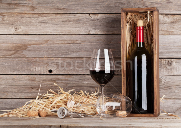 Stock photo: Red wine bottle and wine glasses