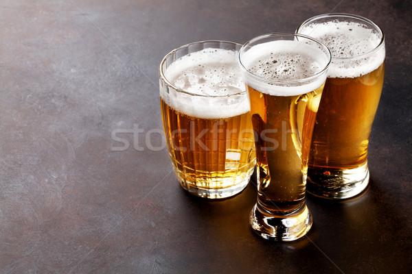 Alman birası bira taş tablo bo karanlık Stok fotoğraf © karandaev