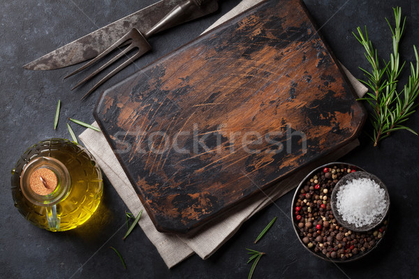 Cooking ingredients and utensils on stone table Stock photo © karandaev