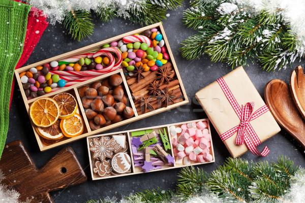 Christmas food decor and gingerbread cookies Stock photo © karandaev