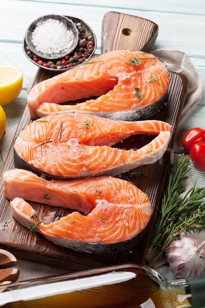 Raw salmon fish steaks Stock photo © karandaev