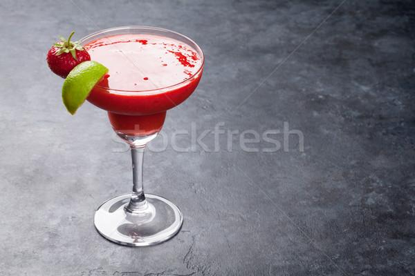 Strawberry margarita cocktail Stock photo © karandaev
