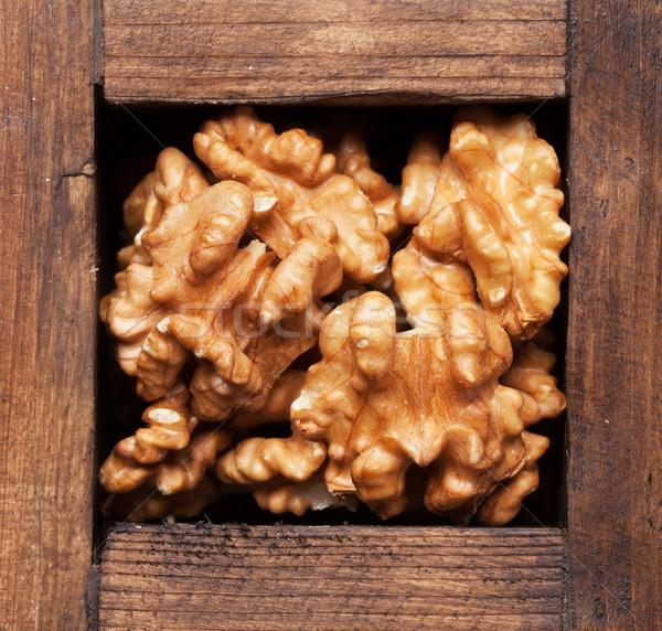 Foto stock: Nozes · caixa · topo · ver
