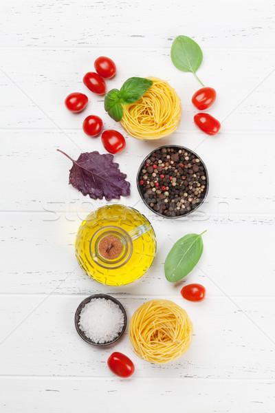 итальянская кухня базилик пасты томатный приготовления Top Сток-фото © karandaev