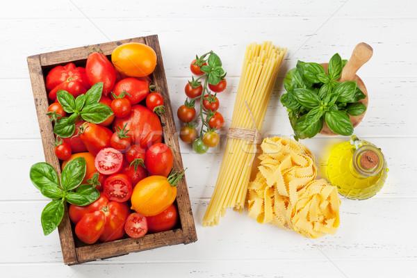 Stockfoto: Vers · tuin · tomaten · pasta · koken · tabel