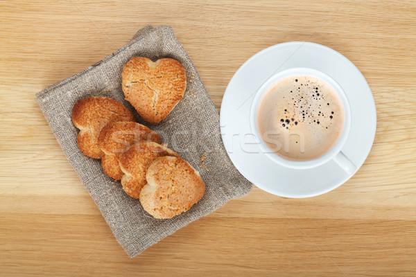 Stok fotoğraf: Kahve · fincanı · kurabiye · ahşap · masa · arka · plan · grup