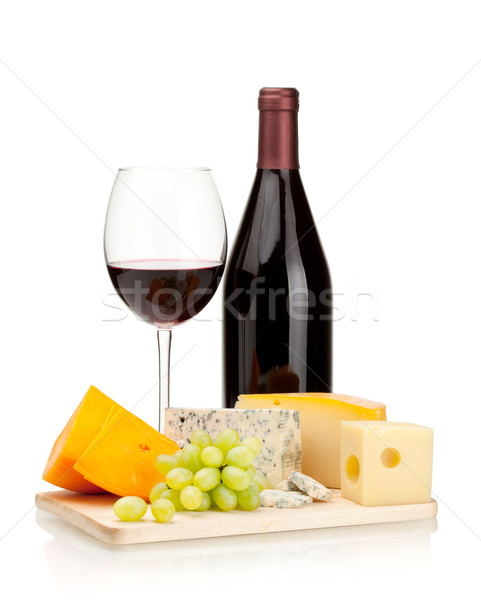 Red wine, cheese and grapes Stock photo © karandaev