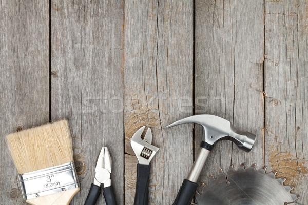 Set of tools on wood background Stock photo © karandaev
