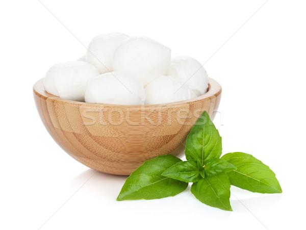 Mozzarella sajt bazsalikom izolált fehér levél Stock fotó © karandaev