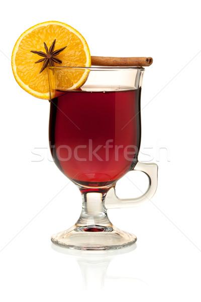 горячей вино долька апельсина анис корицей изолированный Сток-фото © karandaev