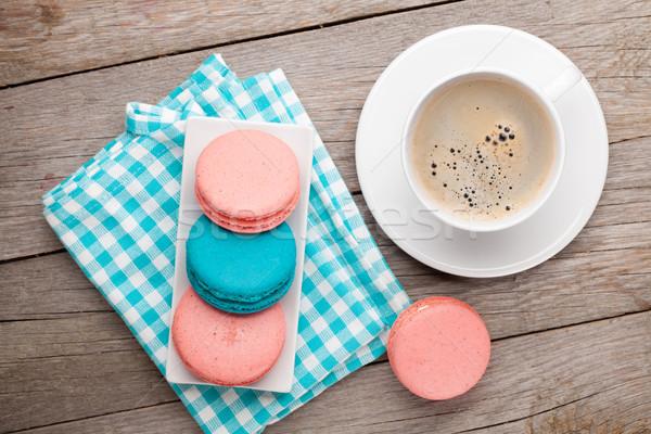 カラフル マカロン クッキー カップ コーヒー 木製のテーブル ストックフォト © karandaev