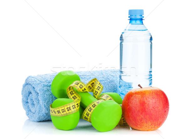 Due verde nastro di misura mela bottiglia d'acqua fitness Foto d'archivio © karandaev