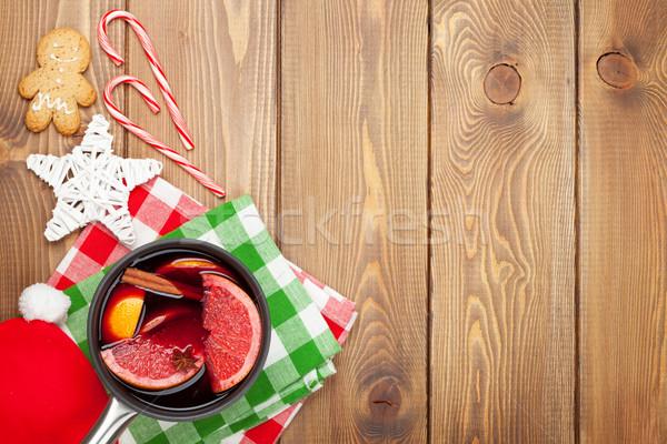 Navidad vino mesa de madera espacio de la copia alimentos Foto stock © karandaev