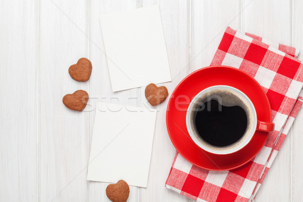 Foto stock: Día · de · san · valentín · foto · marcos · taza · de · café · corazón
