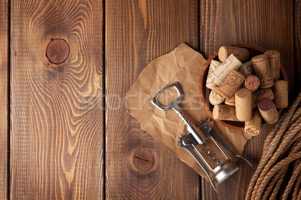 чаши вино штопор деревенский деревянный стол Сток-фото © karandaev