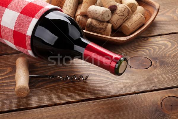 бутылку чаши штопор деревенский Сток-фото © karandaev