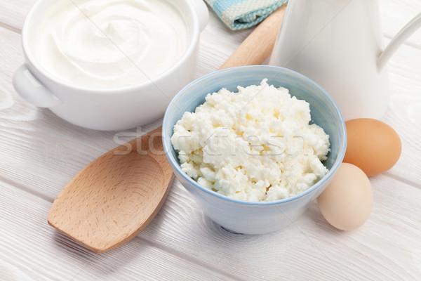 Crème lait fromages table en bois oeuf Photo stock © karandaev