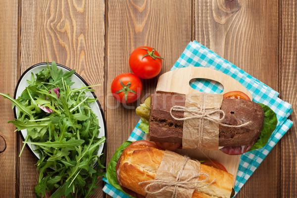 Dwa kanapki Sałatka szynka ser pomidory Zdjęcia stock © karandaev