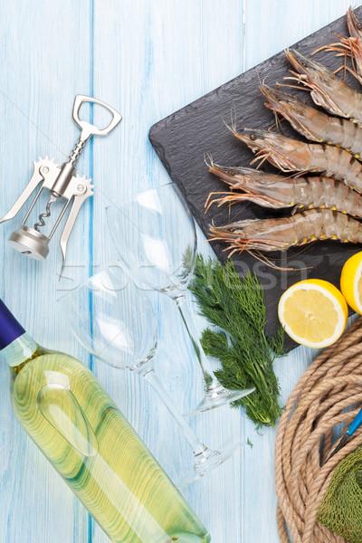 Fresh raw tiger prawns, spices and white wine Stock photo © karandaev