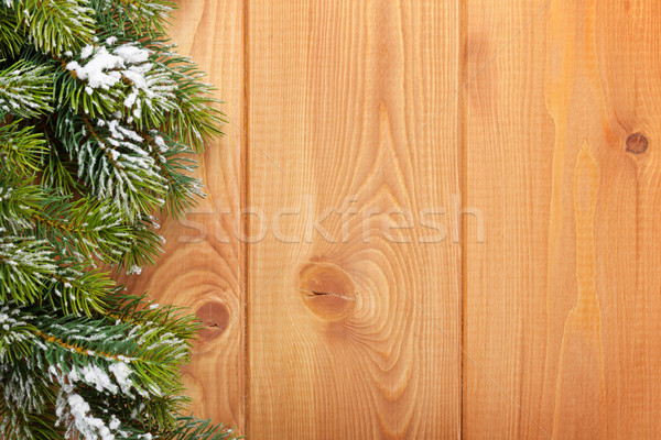 Wood texture with snow firtree christmas Stock photo © karandaev