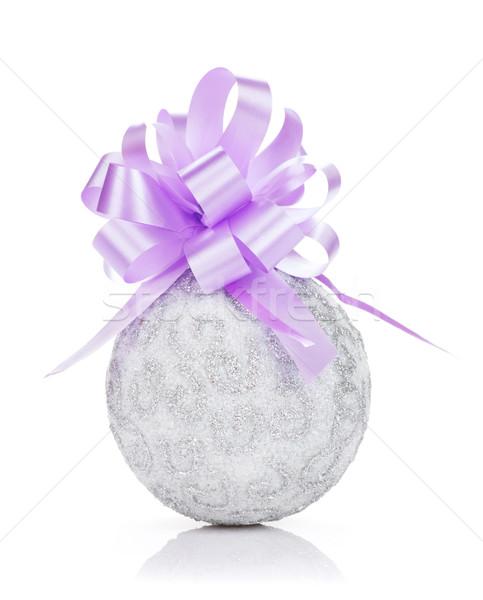 Christmas cacko fioletowy wstążka odizolowany biały Zdjęcia stock © karandaev