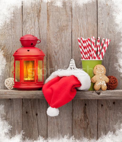 Stok fotoğraf: Noel · mum · fener · ahşap · duvar