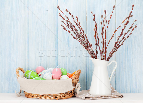 Pussy willow and colorful easter eggs Stock photo © karandaev