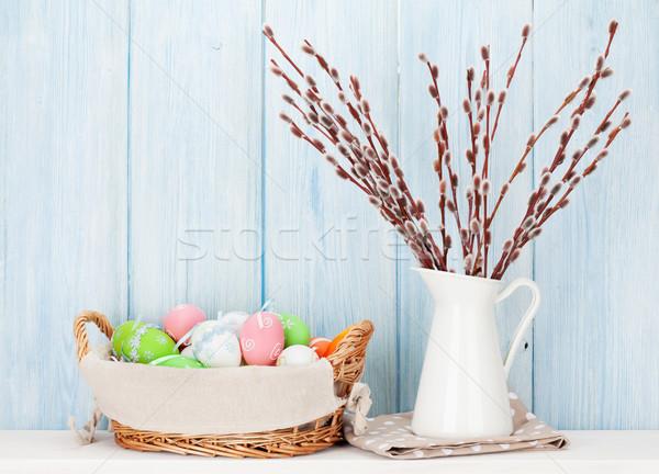 киска ива красочный пасхальных яиц букет Сток-фото © karandaev