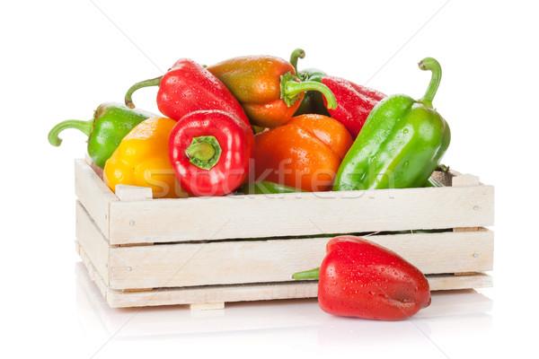 Fresh colorful bell pepper box Stock photo © karandaev